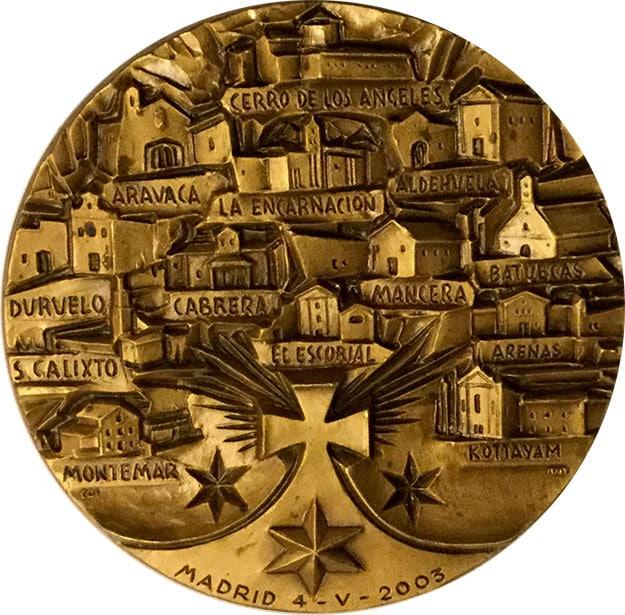 Medallón, Santa Maravillas de Jesús, reverso